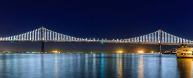 Panoramic view of the Bay Bridge from famous wooden Pier 7 at s Stock Photos