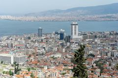 Panoramic view of the bay and city Izmir. Royalty Free Stock Image