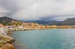 Panoramic view of the bay of the city of Varazze, Italy. Panoramic view of the houses of the city of Varazze located in Liguria,Italy Royalty Free Stock Photos