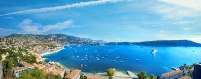 View of coastline and luxury resort town Villefranche-sur-Mer. C stock photo