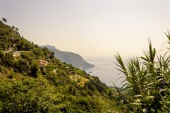 Panoramic view of the Bay of Eze in a summer day. Cote d`Azur French Riviera is situated in the southern eastern part of the mediterranean coast of France and it stock image