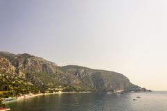 Panoramic view of the Bay of Eze in a summer day. Cote d`Azur French Riviera is situated in the southern eastern part of the mediterranean coast of France and it stock images