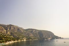 Panoramic view of the Bay of Eze in a summer day. Cote d`Azur French Riviera is situated in the southern eastern part of the mediterranean coast of France and it royalty free stock image