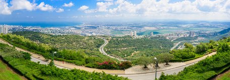 Panoramic view of the bay of Haifa Stock Photos