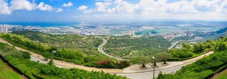 Panoramic view of the bay of Haifa Stock Photos