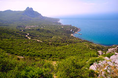 Panoramic view of the Bay Laspi and mount Ilyas-Kaya . Stock Image