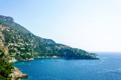 Panoramic view of the Bay of Mala with its famous beaches. Cote d`Azur French Riviera is situated in the southern eastern part of the mediterranean coast of royalty free stock image