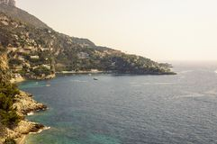Panoramic view of the Bay of Mala with its famous beaches. Cote d`Azur French Riviera is situated in the southern eastern part of the mediterranean coast of royalty free stock photo