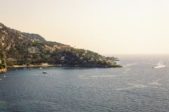 Panoramic view of the Bay of Mala with its famous beaches. Cote d`Azur French Riviera is situated in the southern eastern part of the mediterranean coast of stock photos
