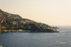 Panoramic view of the Bay of Mala with its famous beaches. Cote d`Azur French Riviera is situated in the southern eastern part of the mediterranean coast of stock photo