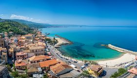 Panoramic view at the bay and port in Pizzo, Calabria, Italy royalty free stock photos