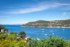 Panoramic view of the bay Villefranche-sur-Mer Stock Images