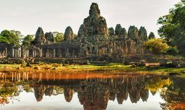 View of Bayon temple in Cambodia. Panoramic view of Bayon temple in the site of  Angkor in Cambodia Royalty Free Stock Photo