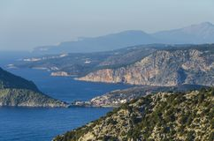Panoramic view of bays mountains and kefalonia coast royalty free stock image