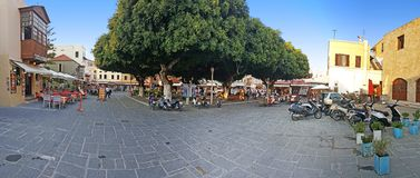 A Bazaar in Rhodes City. A panoramic view of A Bazaar in Rhodes City stock images