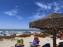 Panoramic view of a beach. Beach of chipiona Royalty Free Stock Photos