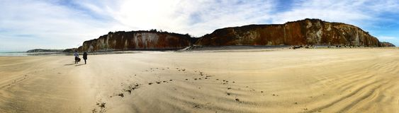 Panoramic view of a beach and cliffs in winter Royalty Free Stock Photo