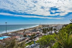 Panoramic view of the beach, dunes and restaurants in Playa del Ingles, Gran Canaria (Grand Canary) Royalty Free Stock Photos