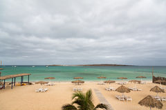 Panoramic view of beach of island Boa Vista, Cape Verde. View of the beach, Boa Vista Island, Cape Verde Royalty Free Stock Images