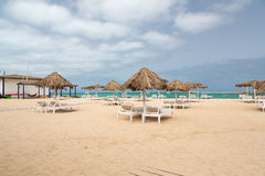 Panoramic view of beach of island Boa Vista, Cape Verde Stock Photos