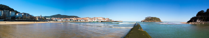 Panoramic View of the beach of Lekeitio. With clear blue sky, Vizcaya, Basque Country, Spain Royalty Free Stock Images