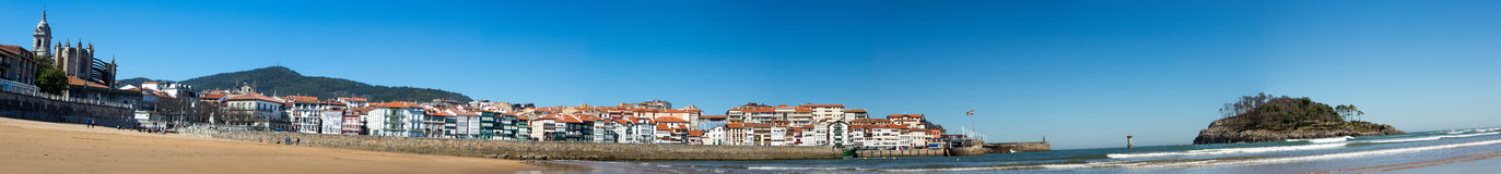 Panoramic View of the beach of Lekeitio. With clear blue sky, Vizcaya, Basque Country, Spain Royalty Free Stock Photography
