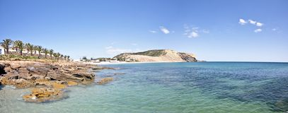 Panoramic view from the beach at Luz Portugal Stock Image