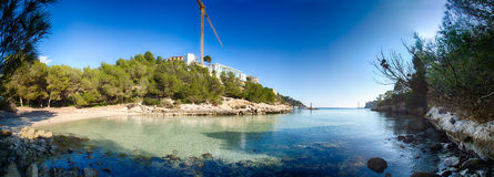 Panoramic view of a Beach in Mallorca Stock Image