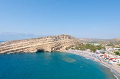 Panoramic view Beach of Matala with caves near Heraklion town on Crete, Greece. Stock Image