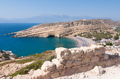 Panoramic view Beach of Matala seen the mountain near Heraklion town on Crete, Greece. Royalty Free Stock Photos