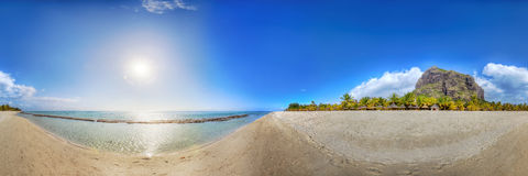 Panoramic view on a beach in Mauritius Stock Photo