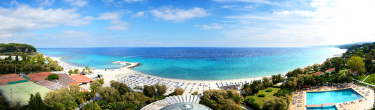 Panoramic view on a beach at the modern luxury hotel. Halkidiki, Greece Stock Photo