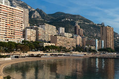 Panoramic view of the beach in Monte Carlo, Monaco. Principality Royalty Free Stock Photography