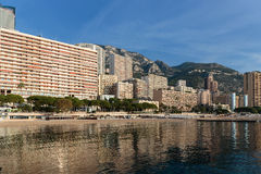Panoramic view of the beach in Monte Carlo, Monaco. Principality Stock Photos