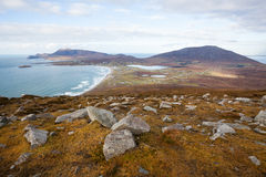 Panoramic view at the beach and mountains. Royalty Free Stock Images