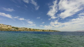 Panoramic view of Beach and Red Sea Coast in Egypt Resort. Time Lapse. Summer holidays on the beach, luxury travel. Daytime view of the Sharm El Sheikh beach stock footage