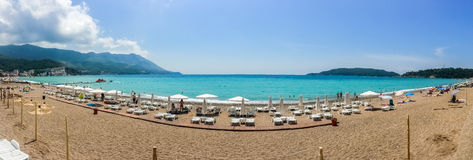 Panoramic view on beach and sea Stock Images
