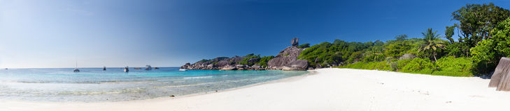 Panoramic view on a beach Royalty Free Stock Photo