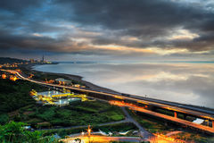 Panoramic view of beach skyline and highway Stock Photography