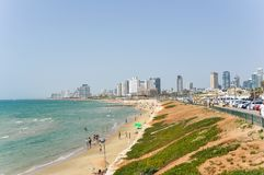 Panoramic view of beach in Tel Aviv stock photography