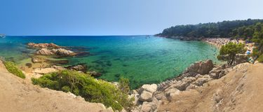 Panoramic view on beaches Cala Treumal and Platja de Santa Cristina in Lloret de Mar, Costa Brava, Spain on sunny summer day. Paradise lagoon on spanish royalty free stock photos