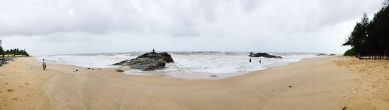 Panoramic view of the beaches of Kundapura. Panoramic view of the serene Turtle Bay beach at Kundapura Stock Photo