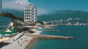 Panoramic view of the Beaches at large hotels in Yalta, Crimea stock footage