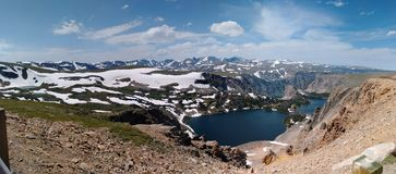 Panoramic view from Beartooth Scenic Highway stock photo