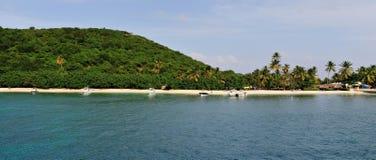 Panoramic view of beat at Palomino. Boats anchored neared the white sandy beach of Palomino island in Puerto Rico Stock Photo