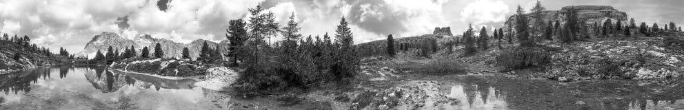 Panoramic view of beautiful alpin lake Royalty Free Stock Photo