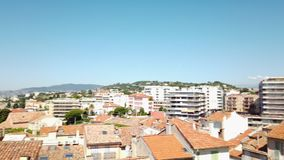 Panoramic view of beautiful architecture and historic houses downtown Cannes City. Panoramic view of beautiful architecture and historic houses downtown city of stock video footage