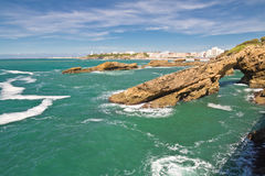 Panoramic view on beautiful atlantic coastline wth turquoise green ocean with waves in basque country, biarritz, france Stock Images