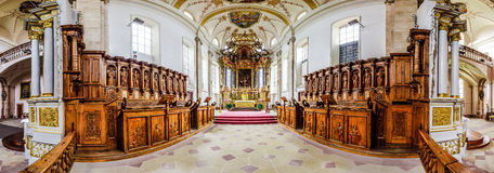 Panoramic view of beautiful baroque church interior Stock Images