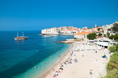 Panoramic view on the beautiful beach in Dubrovnik Stock Image